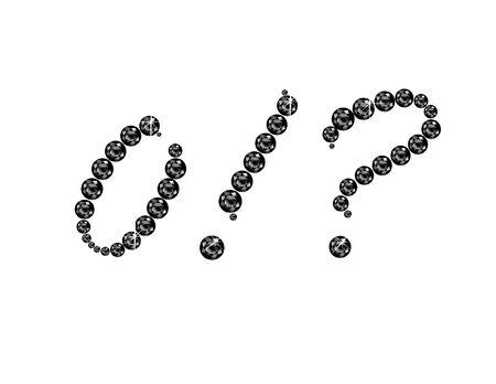 point exclamation: Zero, Point d'exclamation et d'interrogation dans de superbes Onyx Script bijoux ronds précieux, isolé sur noir.