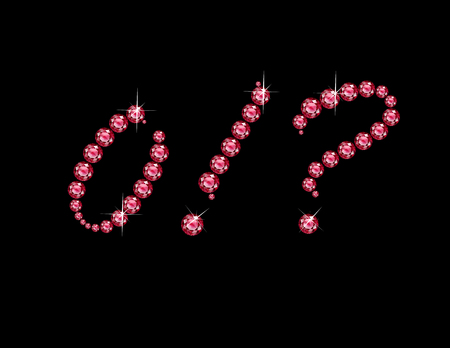 costly: Zero, Exclamation Point and Question Mark in stunning Ruby Script precious round jewels, isolated on black.