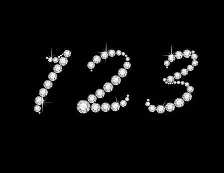 番号 1、2 と見事な黒に分離されたダイヤモンド スクリプト貴重な丸い宝石の 3。