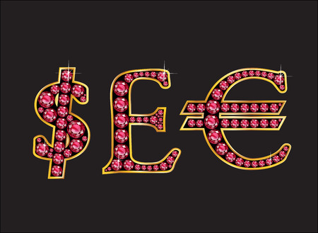 quid: Currency signs, Dollar, Pound Sterling and Euro in stunning Ruby precious round jewels set into a 2-level gold gradient channel setting, isolated on black.