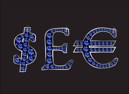 通貨記号は、ドル、ポンド、ユーロで見事なサファイア貴重な丸い宝石 2 レベル銀グラデーション チャネル設定、黒の分離に設定。  イラスト・ベクター素材