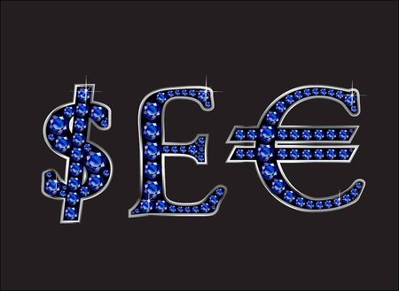 quid: Currency signs, Dollar, Pound Sterling and Euro in stunning Sapphire precious round jewels set into a 2-level silver gradient channel setting, isolated on black.