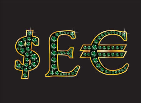 quid: Currency signs, Dollar, Pound Sterling and Euro in stunning Emerald precious round jewels set into a 2-level gold gradient channel setting, isolated on black.