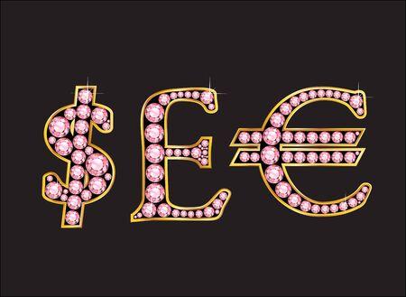 通貨記号は、ドル、英ポンド、ユーロ ブラックに分離された 2 レベル ゴールド グラデーション チャネル設定に設定ローズクォーツ貴重な丸い宝石  イラスト・ベクター素材
