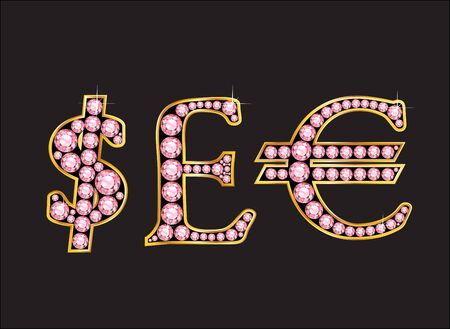 Currency signs, Dollar, Pound Sterling and Euro in stunning Rose Quartz precious round jewels set into a 2-level gold gradient channel setting, isolated on black.