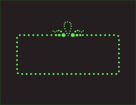 peridot: Elegant deco style frame with rounded corners, made from Peridot jewels, isolated on black background.