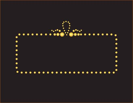 jewels: Elegant deco style frame with rounded corners, made from  yellow citrine jewels, isolated on black background.