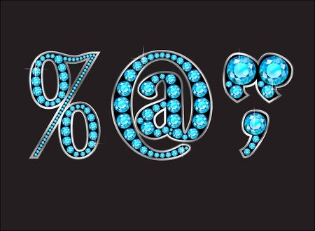 comma: Punctuation, Percentage, At Sign, Quotes, Comma in stunning Aquamarine precious round jewels set into a 2-level gold gradient channel setting, isolated on black.