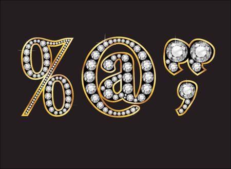 percentage sign: Punctuation, Percentage, At Sign, Quotes, Comma in stunning Diamond precious round jewels set into a 2-level gold gradient channel setting, isolated on black.