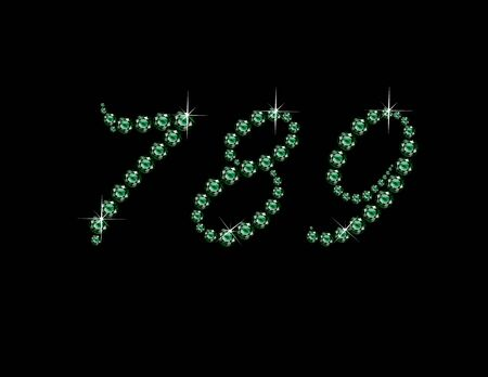 7 8: Numerals 7, 8 and 9 in stunning Emerald Script precious round jewels, isolated on black. Illustration