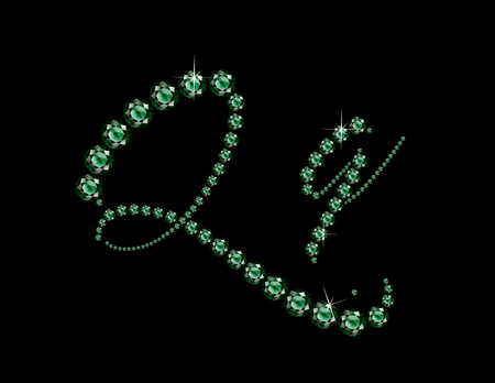 Qq in stunning Emerald Script precious round jewels, isolated on black.