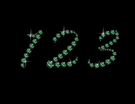 jewels: Numbers 1, 2 and 3 in stunning Emerald Script precious round jewels, isolated on black.