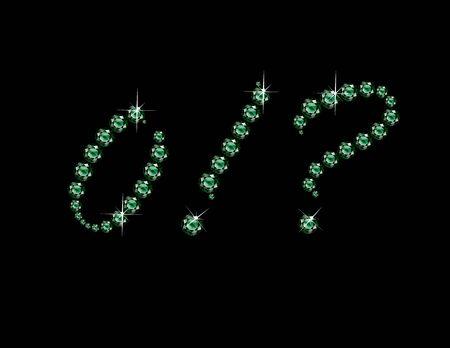 point exclamation: Zero, Point d'exclamation et d'interrogation dans de superbes Script Emerald bijoux ronds précieux, isolé sur noir.