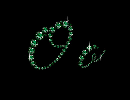 Oo in stunning Emerald Script precious round jewels, isolated on black. Illustration