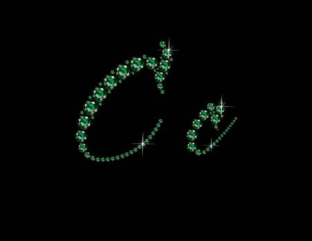 Cc in stunning Emerald Script precious round jewels, isolated on black.