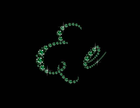 Ee in stunning Emerald Script precious round jewels, isolated on black.