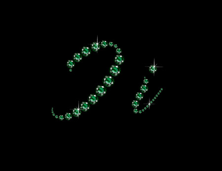 Ii in stunning Emerald Script precious round jewels, isolated on black.