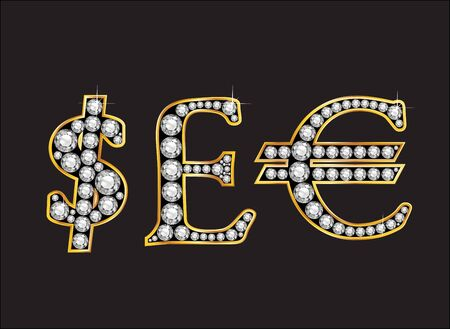 quid: Currency signs, Dollar, Pound Sterling and Euro in stunning Diamond precious round jewels set into a 2-level gold gradient channel setting, isolated on black. Illustration