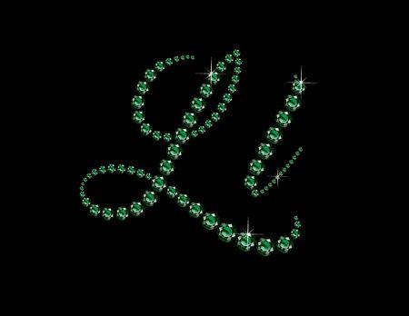 Ll in stunning Emerald Script precious round jewels, isolated on black. Illusztráció