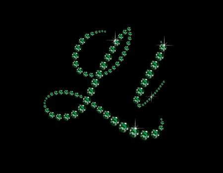 birthstone: Ll in stunning Emerald Script precious round jewels, isolated on black. Illustration