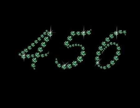 emerald: Numerals 4, 5 and 6 in stunning Emerald Script precious round jewels, isolated on black.