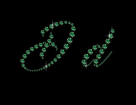 birthstone: Dd in stunning Emerald Script precious round jewels, isolated on black.