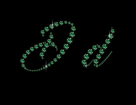 Dd in stunning Emerald Script precious round jewels, isolated on black.