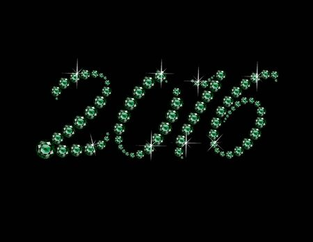 organiser: 2016 in stunning Emerald Script precious round jewels, isolated on white.