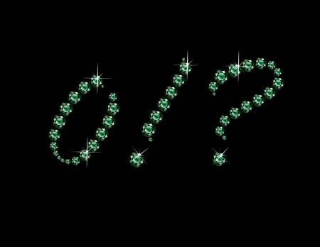 Zero, Exclamation Point and Question Mark in stunning Emerald Script precious round jewels, isolated on black.