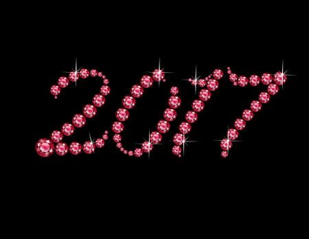 2017 in stunning Ruby Script precious round jewels, isolated on white. Illustration