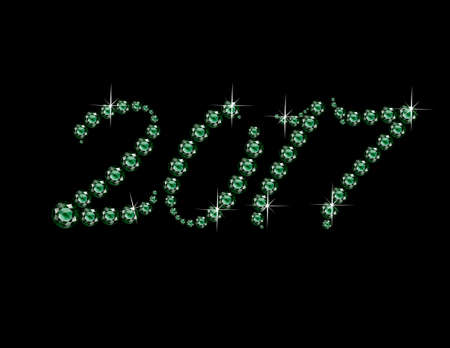 jewels: 2017 in stunning Emerald Script precious round jewels, isolated on white.