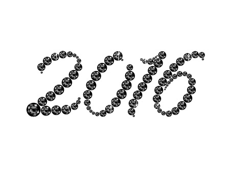 onyx: 2016 in stunning Onyx Script precious round jewels, isolated on white.