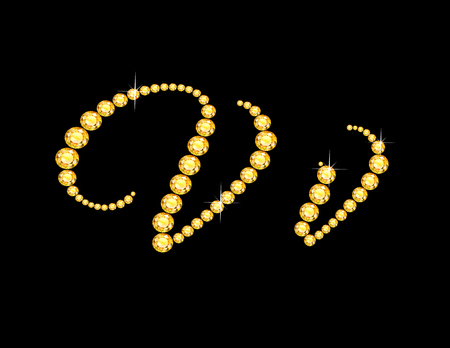 costly: Vv in stunning Citrine Script precious round jewels, isolated on black. Illustration