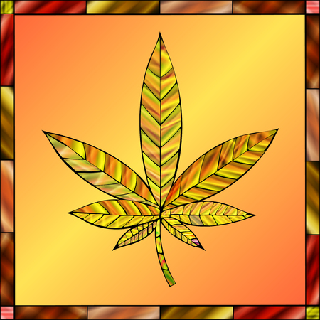 stained glass panel: Stunning cannabis leaf in stained-glass style, in a gold color scheme.