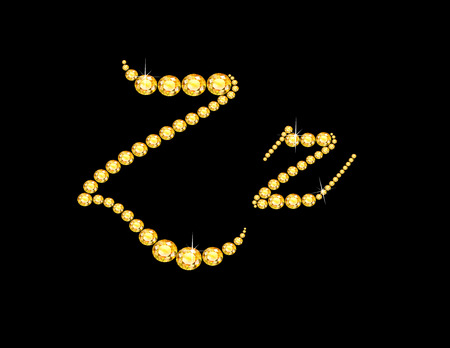 Zz in stunning Citrine Script precious round jewels, isolated on black.