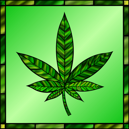 stained glass panel: Stunning cannabis leaf in stained-glass style, in green.