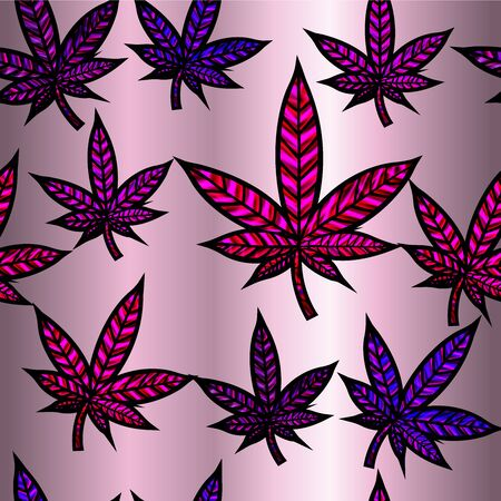 thc: Stunning cannabis leaf in stained-glass style, seamless design.