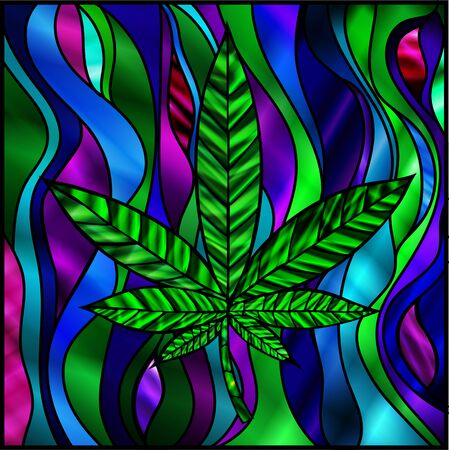 Stunning cannabis leaf in stained-glass style, in green.