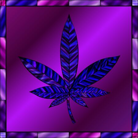 stained glass panel: Stunning cannabis leaf in stained-glass style, in a blue and purple color scheme.