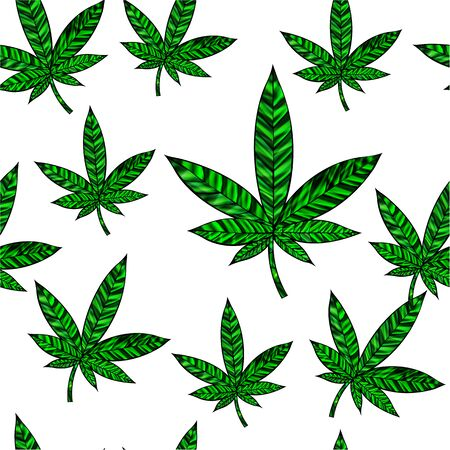 Stunning seamless cannabis leaf in stained-glass style, isolated on white. Illustration