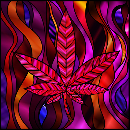 stained glass panel: Stunning cannabis leaf in stained-glass style, in red. Illustration
