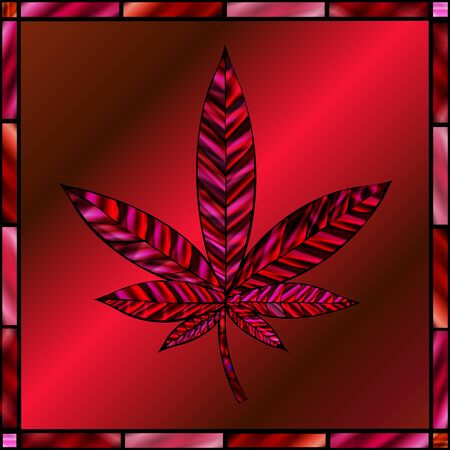 stained glass panel: Stunning cannabis leaf in stained-glass style, in shades of red. Illustration
