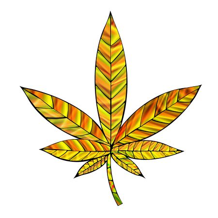 thc: Stunning yellow gold cannabis leaf in stained-glass style, isolated on white. Illustration
