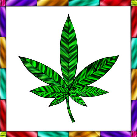stained glass panel: Stunning cannabis leaf in stained-glass style, with border and white background.