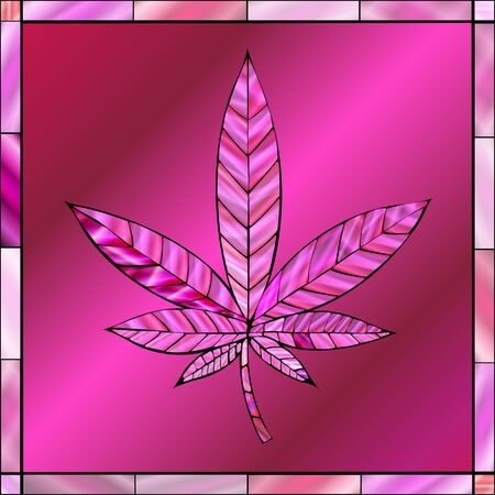 thc: Stunning cannabis leaf in stained-glass style, in a pink color scheme.