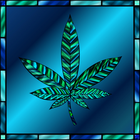 stained glass panel: Stunning cannabis leaf in stained-glass style, in shades of teal and blue. Illustration