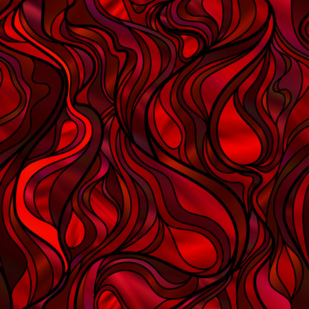Stunning seamless abstract stained glass window design, in red and purple tones. Illustration