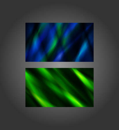 inches: Blue and Green abstract banners, 2x3.5 inches, business card size. Illustration