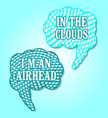 Halftone Speech Bubbles in Clouds 向量圖像