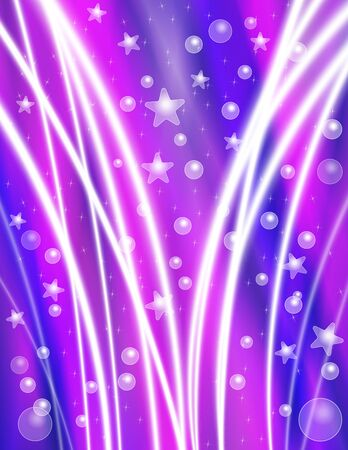 special effects: Festive Purple Celebration Background with Stars, Bubbles and Light Beams